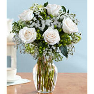 One Dozen Long Stemmed White Roses